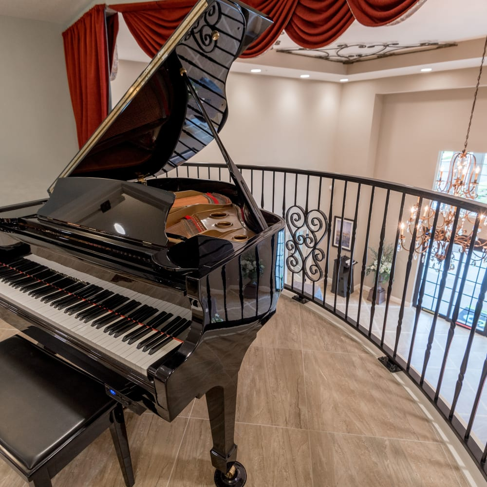 A piano at Inspired Living at Ocoee in Ocoee, Florida.