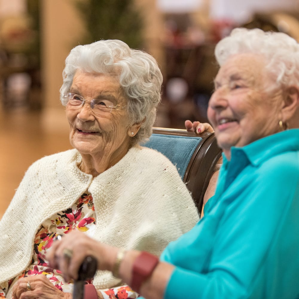 Two resident friends hanging out at Inspired Living at Lakewood Ranch in Bradenton, Florida