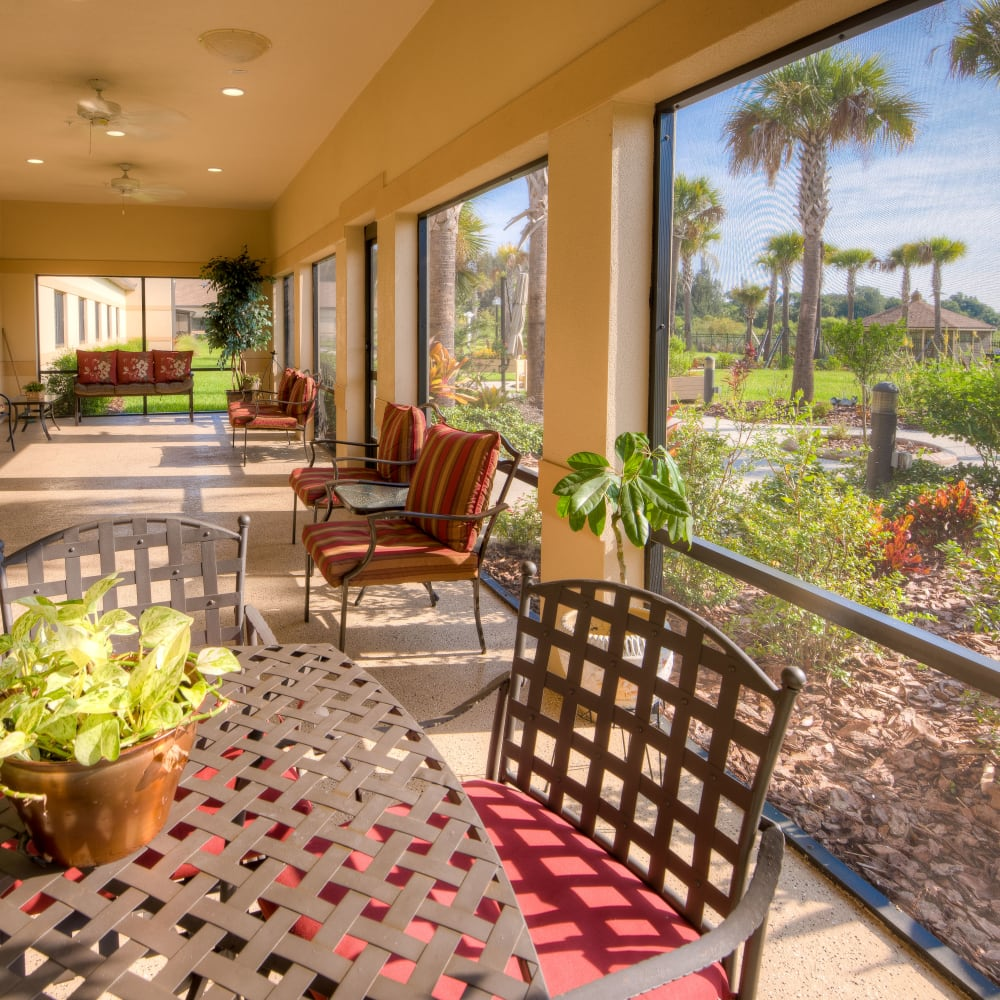 Shaded porch at Inspired Living Hidden Lakes in Bradenton, Florida