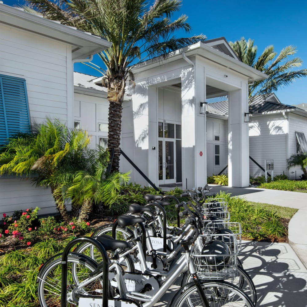 Cruiser bike station at The Elysian in St Johns, Florida