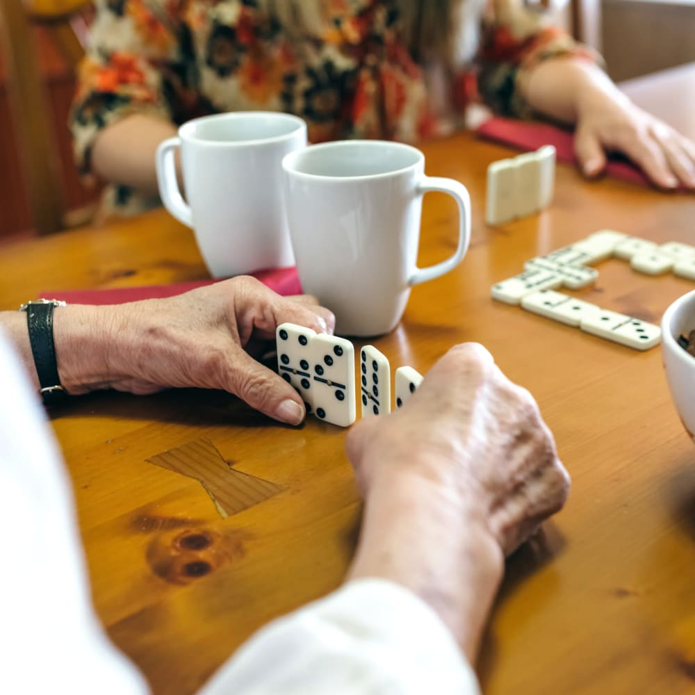 A game of dominoes at Randall Residence of Sterling Heights in Sterling Heights, Michigan
