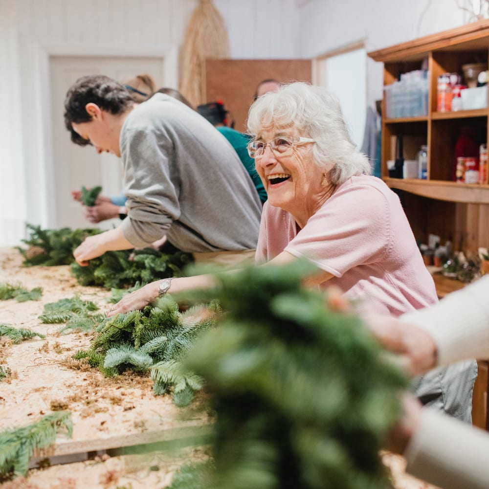 Residents taking a Gardening course at Serenity in East Peoria, Illinois