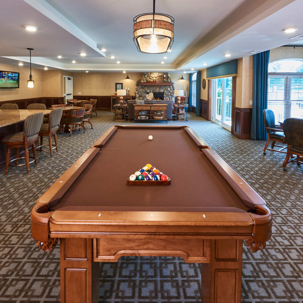 Game room at Applewood Pointe of Champlin in Champlin, Minnesota.