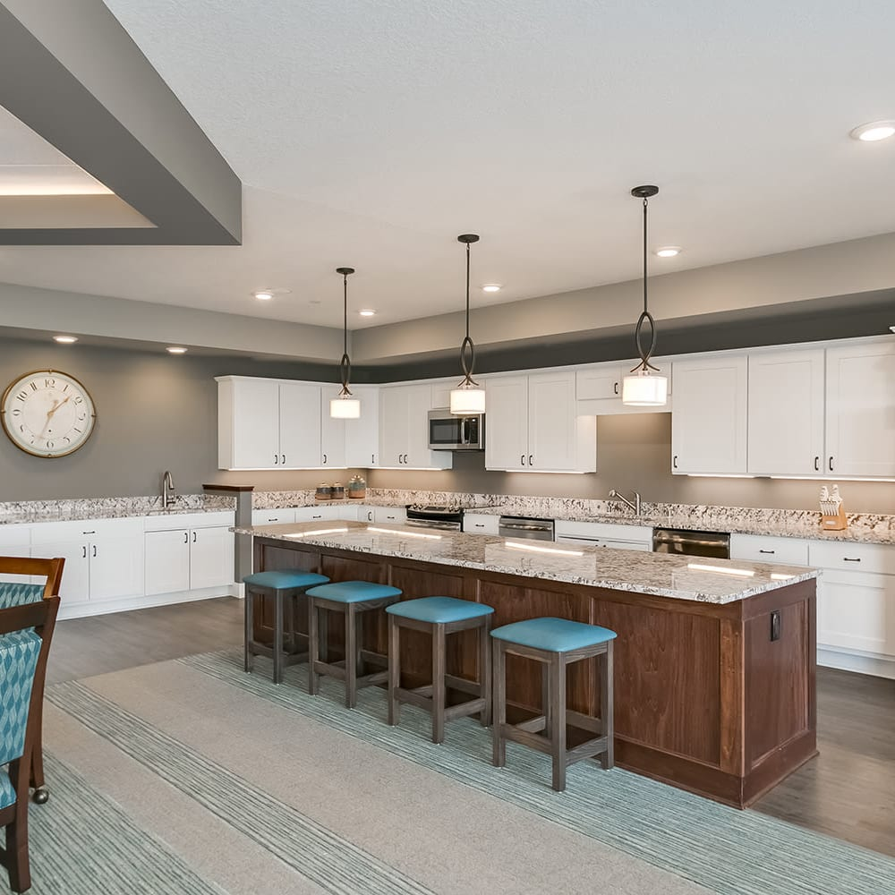 Community kitchen at Applewood Pointe of Eagan in Eagan, Minnesota.