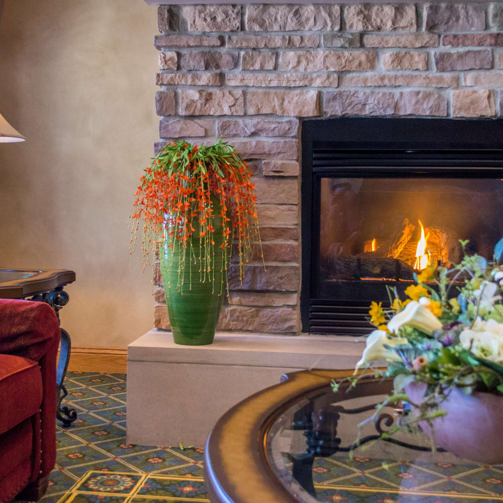fireplace at Applewood Pointe of Maple Grove in Maple Grove, Minnesota.