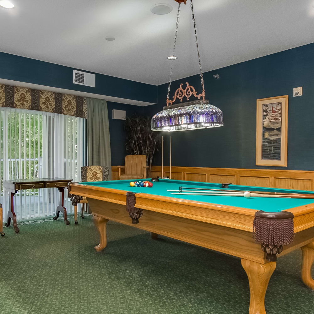 Game room at Applewood Pointe of Maple Grove in Maple Grove, Minnesota.
