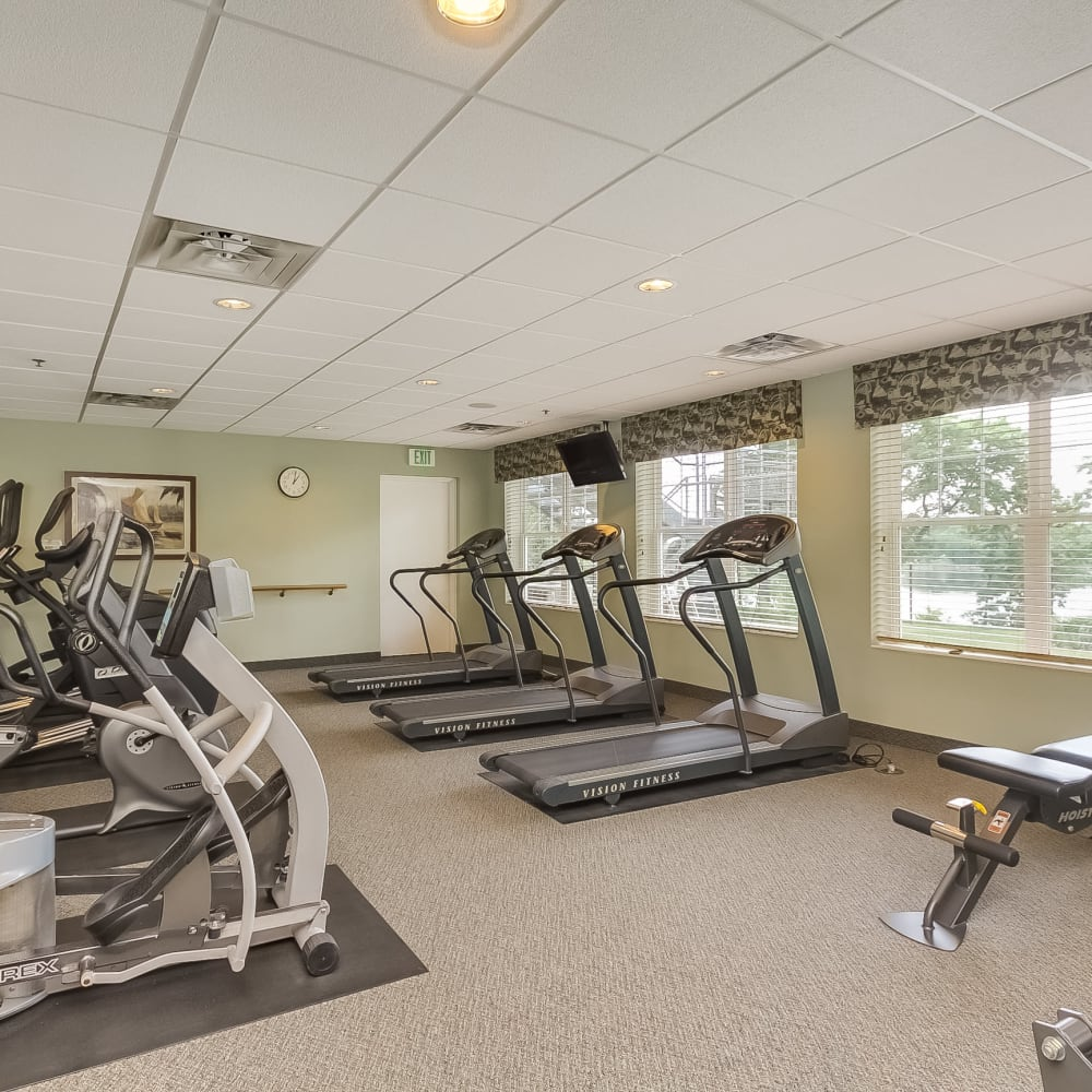 Fitness center at Applewood Pointe of New Brighton in New Brighton, Minnesota.