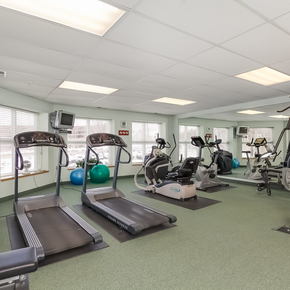 Fitness equipment and treadmills at Applewood Pointe of Roseville in Roseville, Minnesota.
