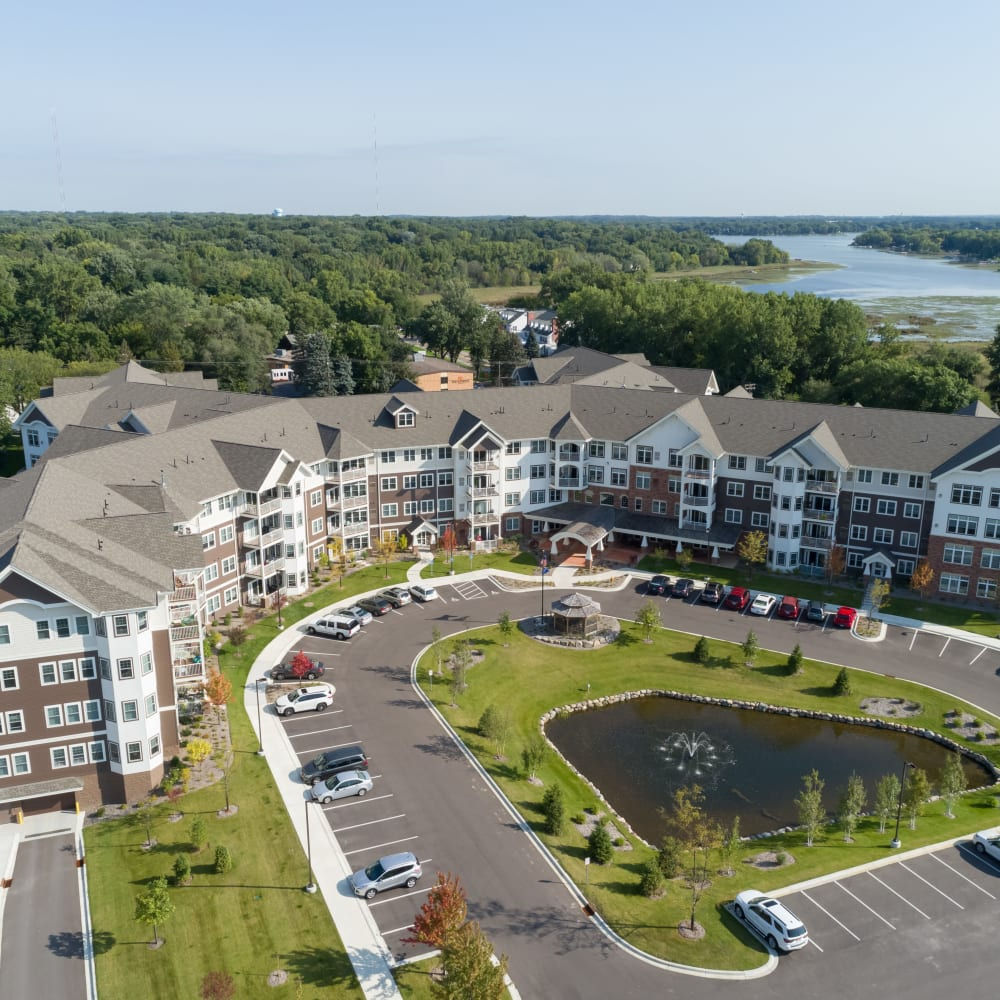Aerial view of Applewood Pointe Roseville at Central Park in Roseville, Minnesota.