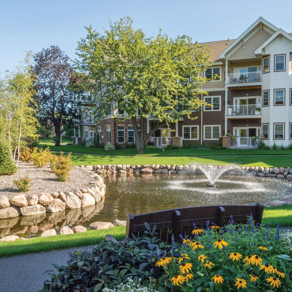 Water feature at Applewood Pointe of Shoreview in Shoreview, Minnesota.