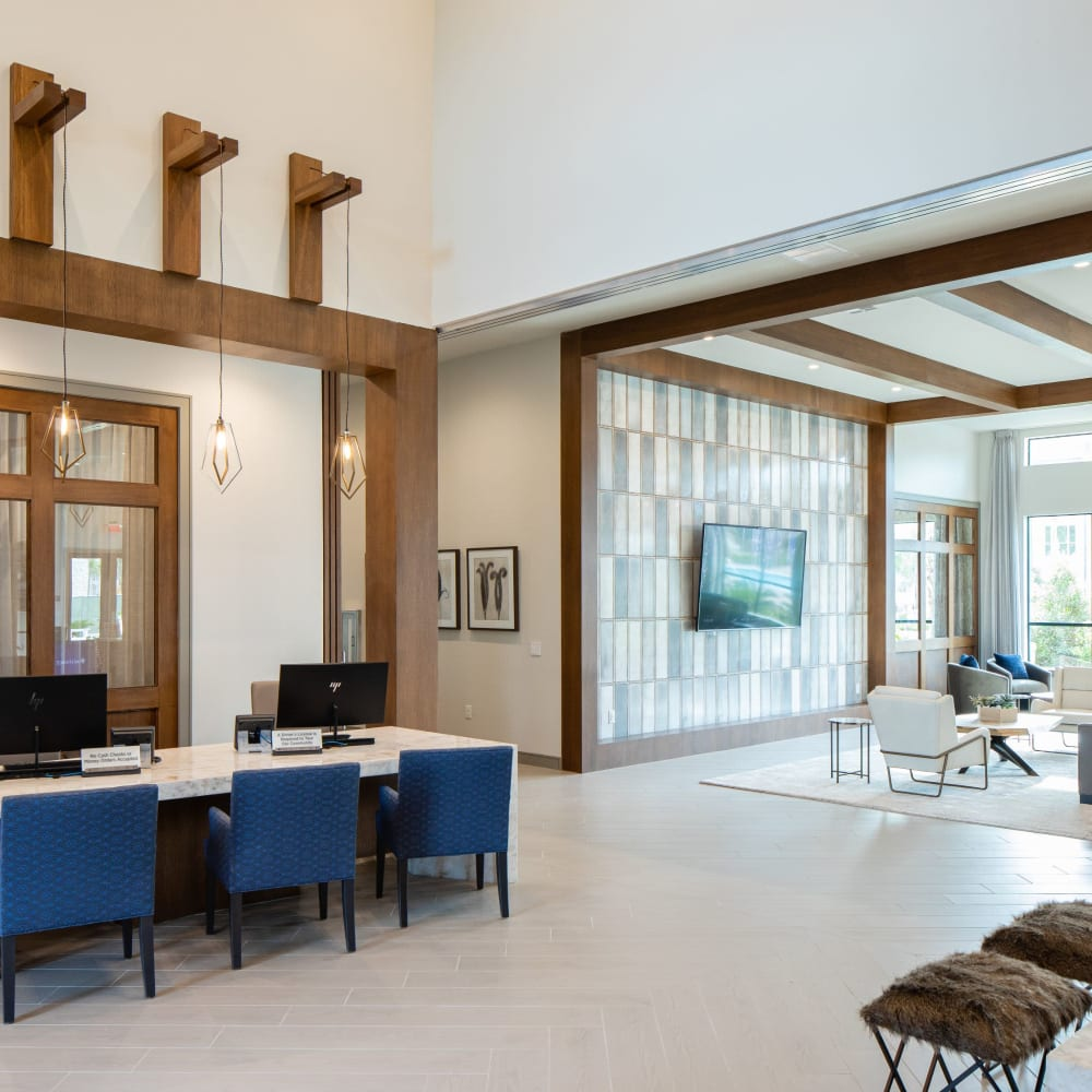 Leasing office entrance at Opal at Barker Cypress in Houston, Texas