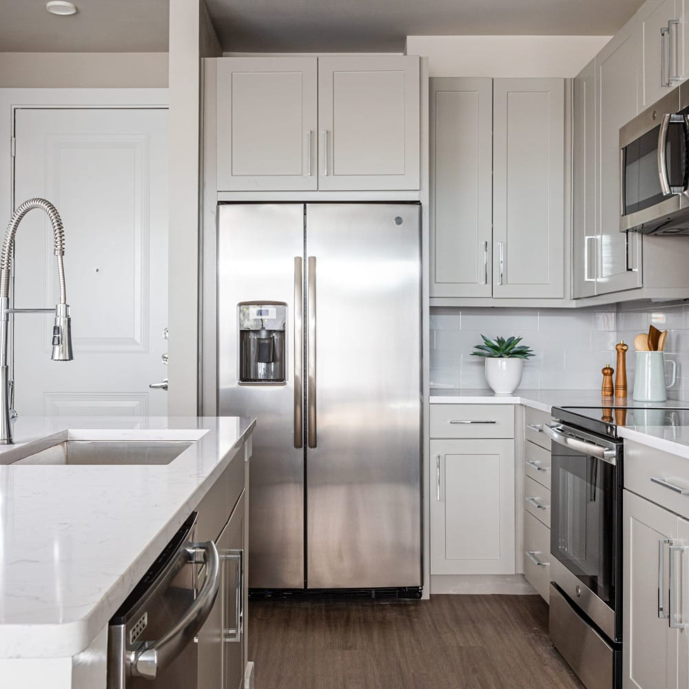 Energy-efficient appliances and hardwood-inspired flooring at Opal at Barker Cypress in Houston, Texas