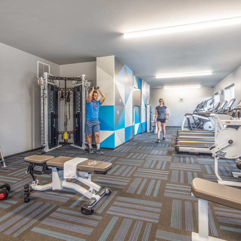 Fully equipped fitness center at UNCOMMON Columbus in Columbus, Ohio