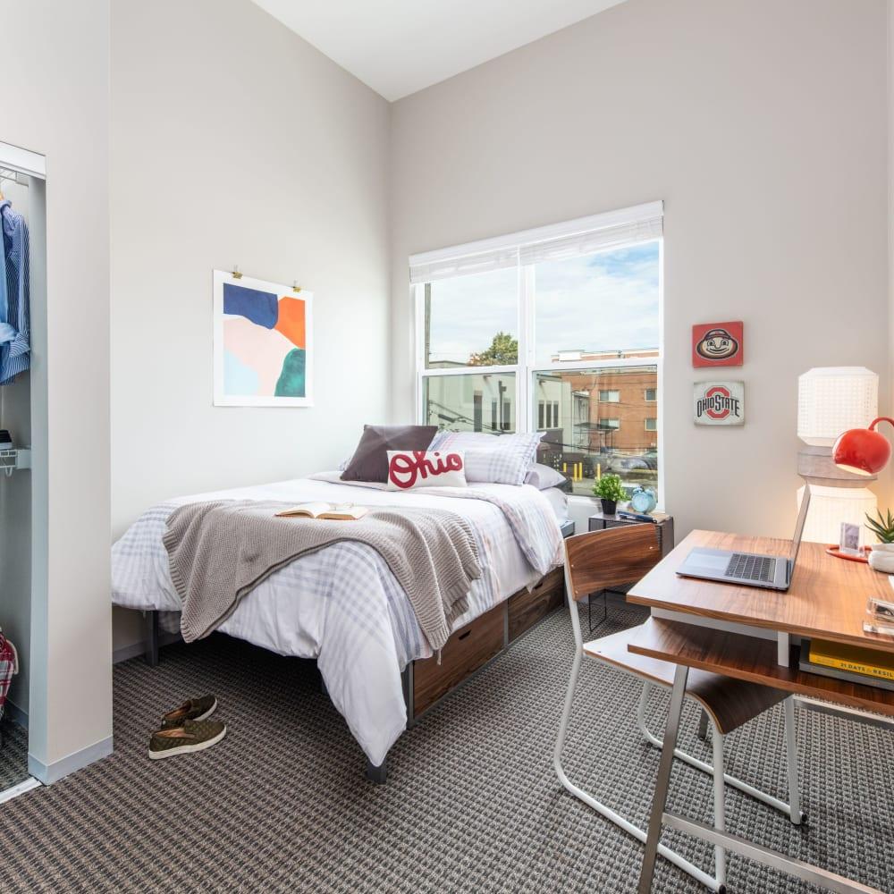 Spacious bedroom at UNCOMMON Columbus in Columbus, Ohio