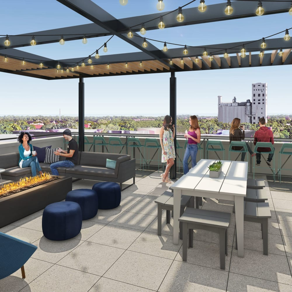 Relaxing rooftop lounge at UNCOMMON Dinkytown in Minneapolis, Minnesota