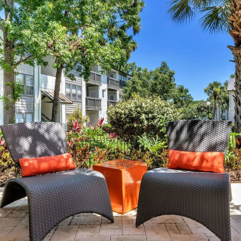 Two comfortable outdoor seats at The Braxton in Palm Bay, Florida