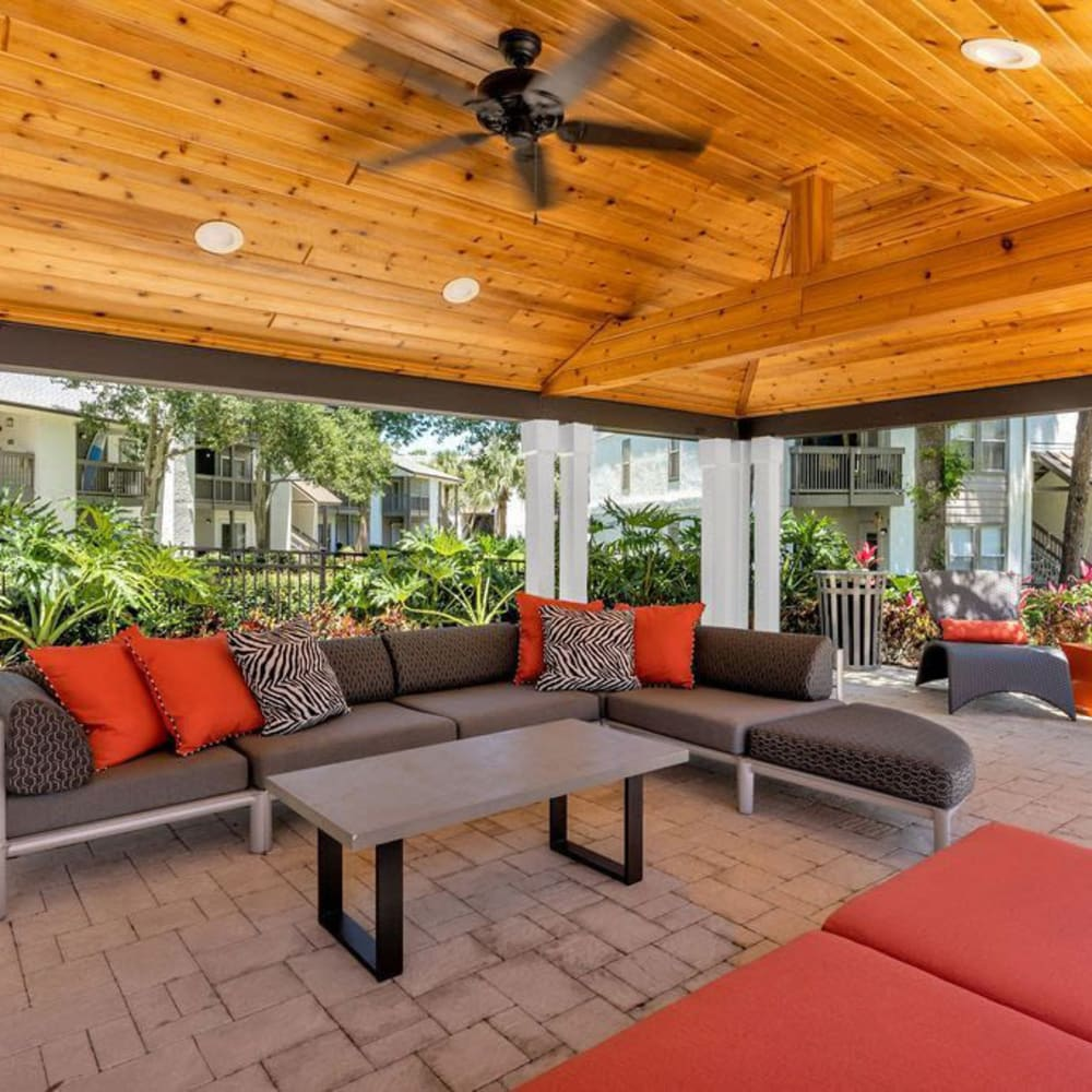 An outdoor lounge area at The Braxton in Palm Bay, Florida