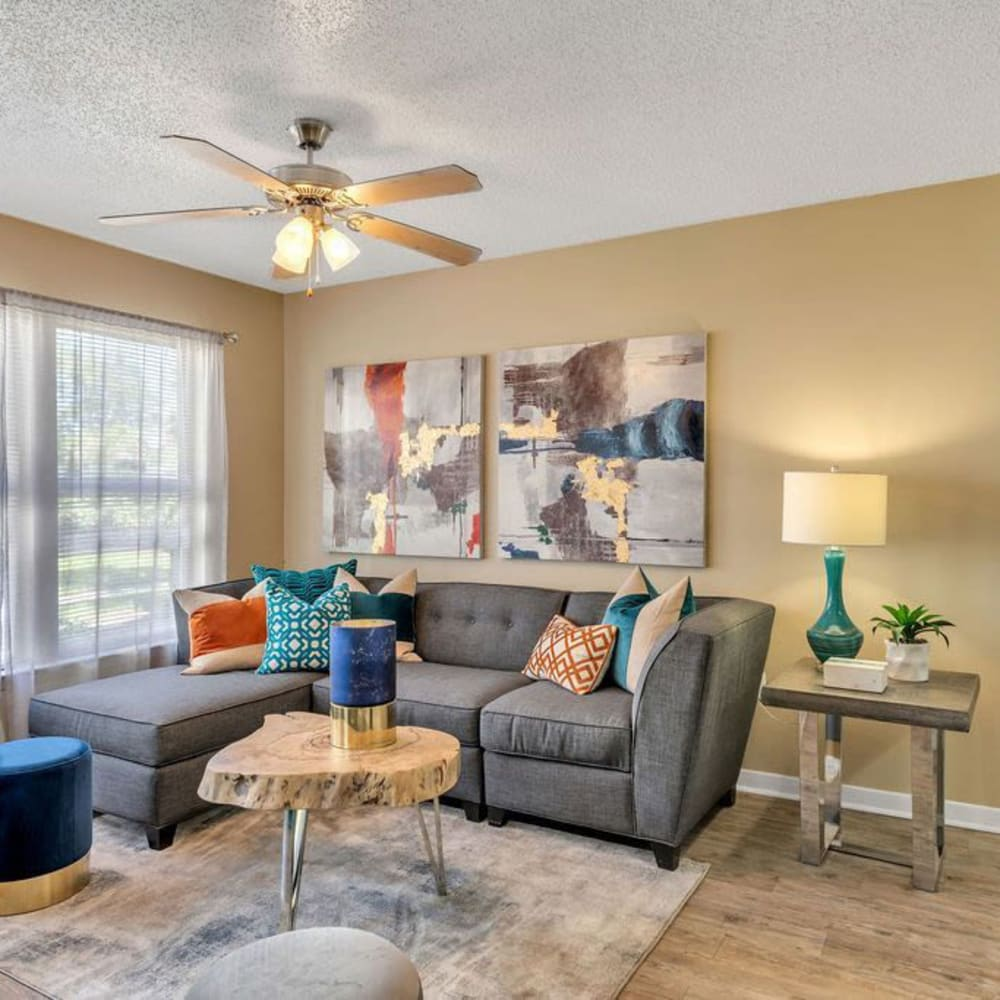 A large apartment living room at The Braxton in Palm Bay, Florida