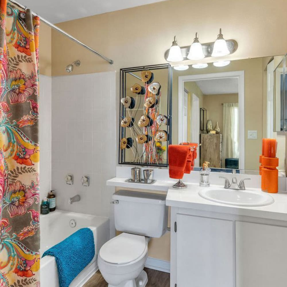 A comfy apartment bathroom at The Braxton in Palm Bay, Florida