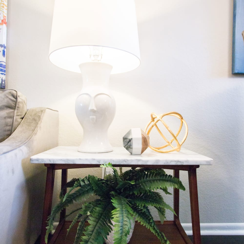 An end table in an apartment at Fairways at Feather Sound in Clearwater, FL