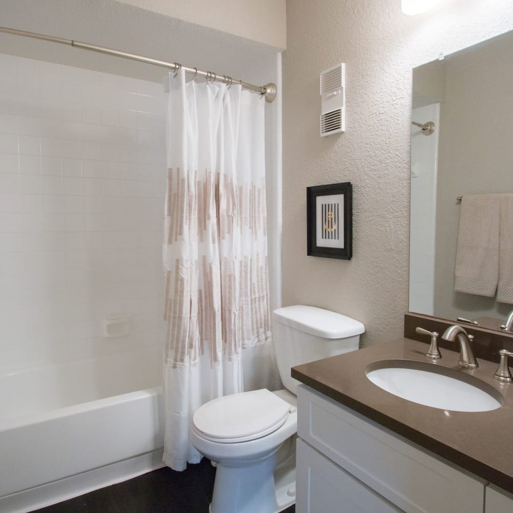 An apartment bathroom at Fairways at Feather Sound in Clearwater, FL