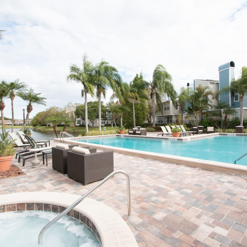 A resort style pool at Fairways at Feather Sound in Clearwater, FL