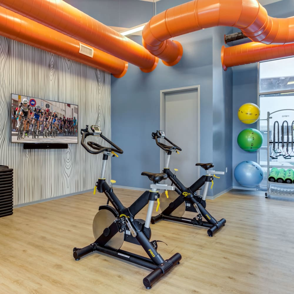 Yoga and spin studio at LATITUDE at River Landing in Coralville, Iowa