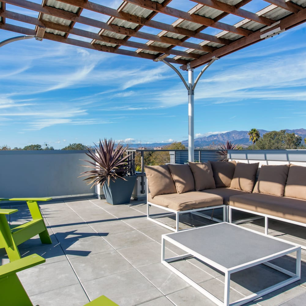Rooftop chill space at ICON in Isla Vista, California