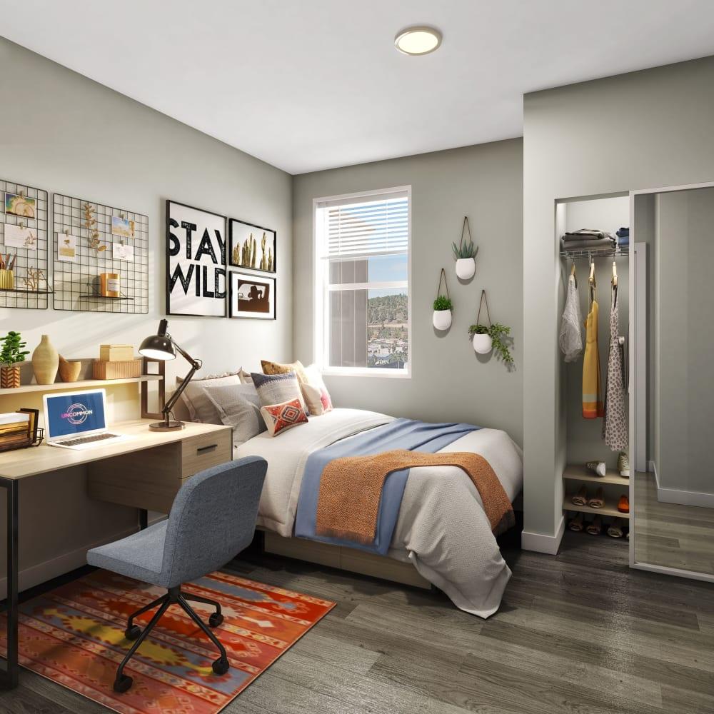 Cozy bedroom at UNCOMMON Flagstaff in Flagstaff, Arizona