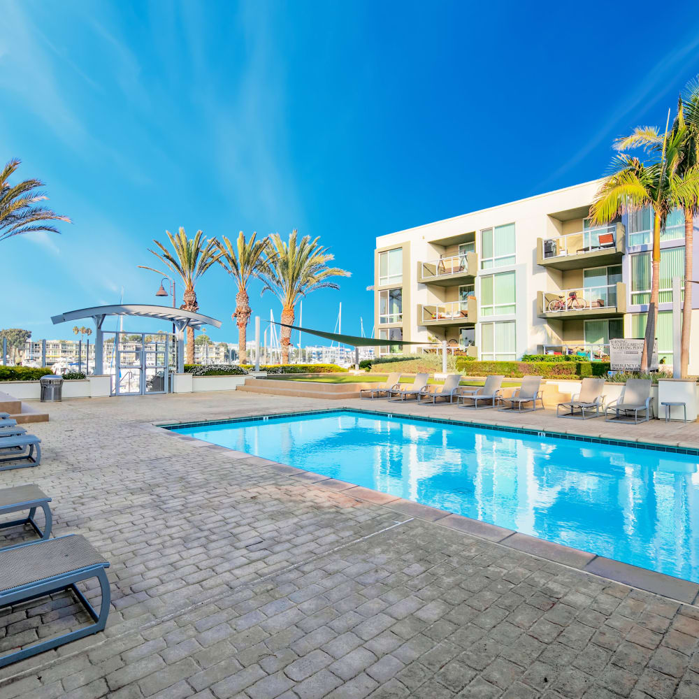 View a virtual tour of the swimming pool at the Waters Edge community at The Villa at Marina Harbor in Marina del Rey, California