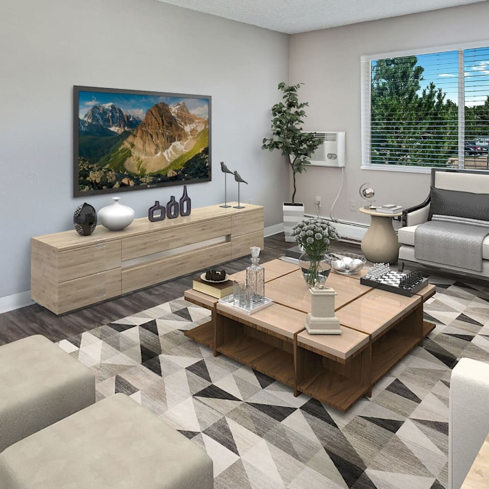 Large living room at Florida Station Apartments in Aurora, Colorado