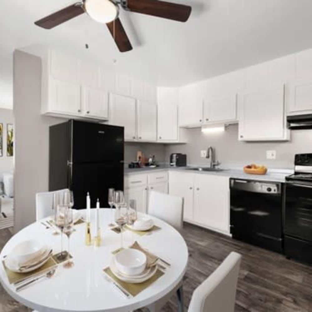 Dining table at Crestone Apartments in Brighton, Colorado