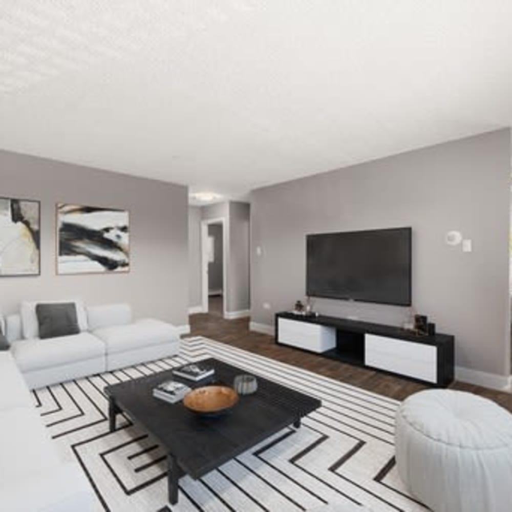 Living room area at Crestone Apartments in Brighton, Colorado