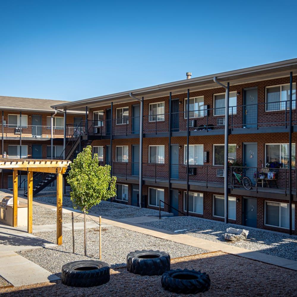 Apartment patios at The Phoenix in Brighton, Colorado