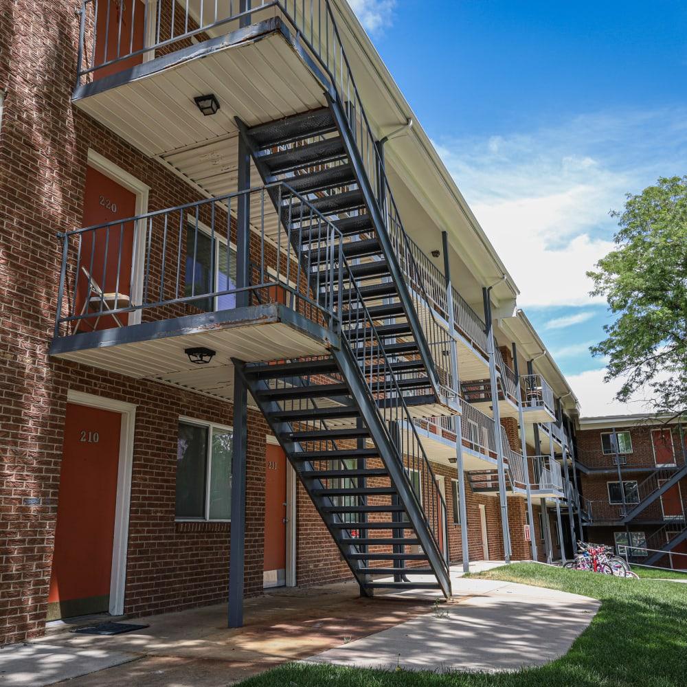 Outdoor stairways at The Wesley in Denver, Colorado