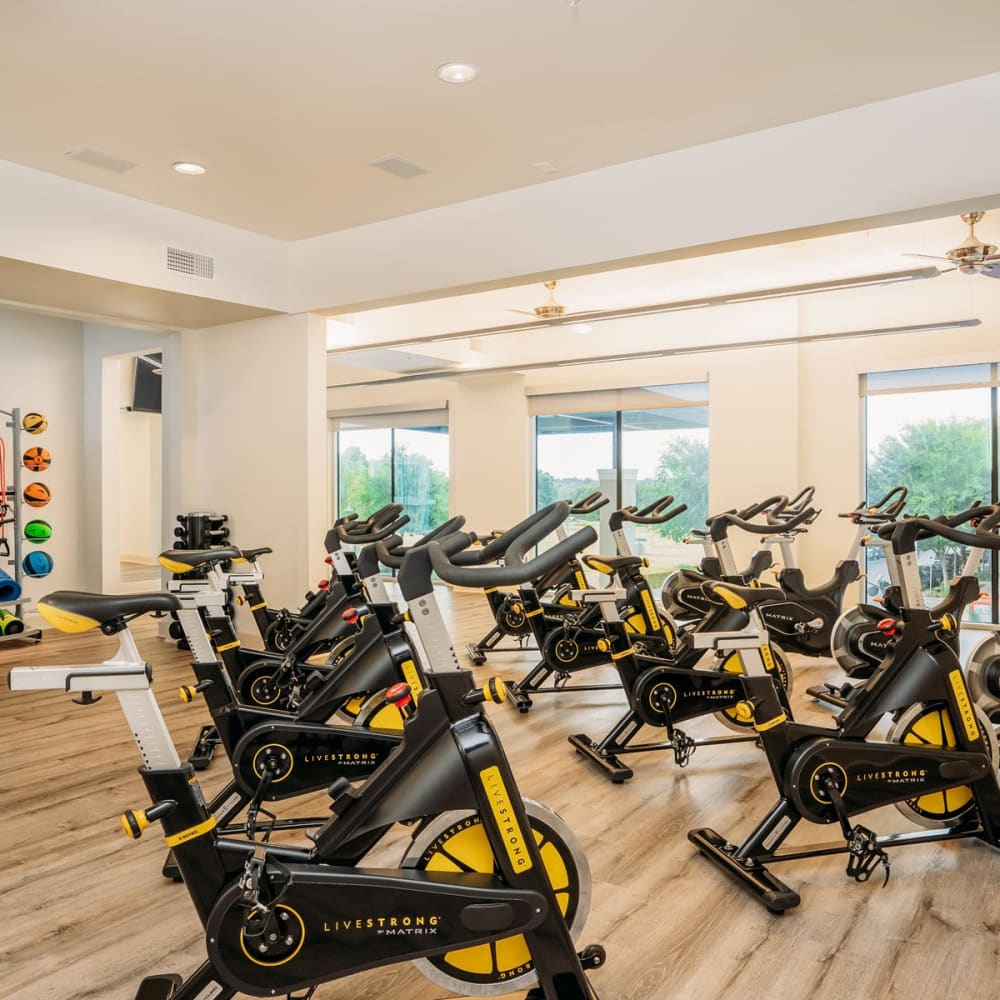 Spin bikes in the onsite fitness center at Lakeshore Pearl in Austin, Texas