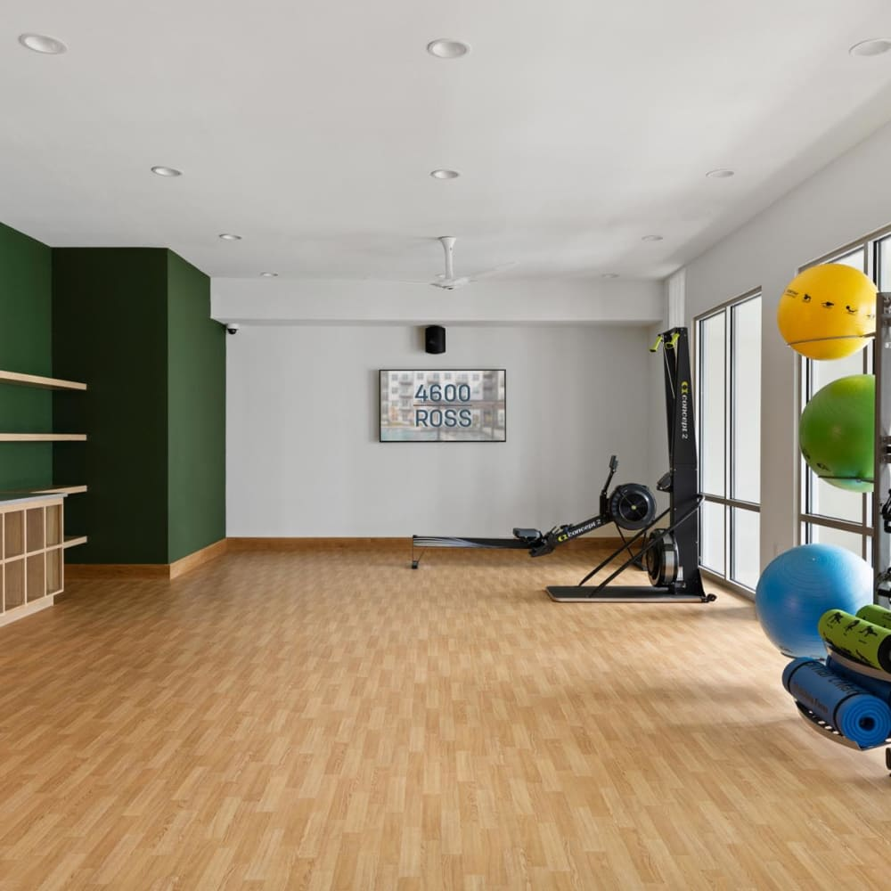 Large yoga room in the fitness center at 4600 Ross in Dallas, Texas