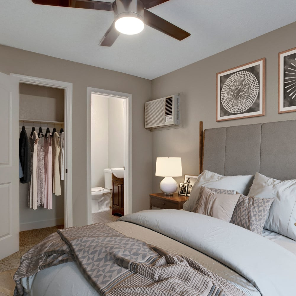 Bedroom and closet at The Hawthorne in Carmichael, California