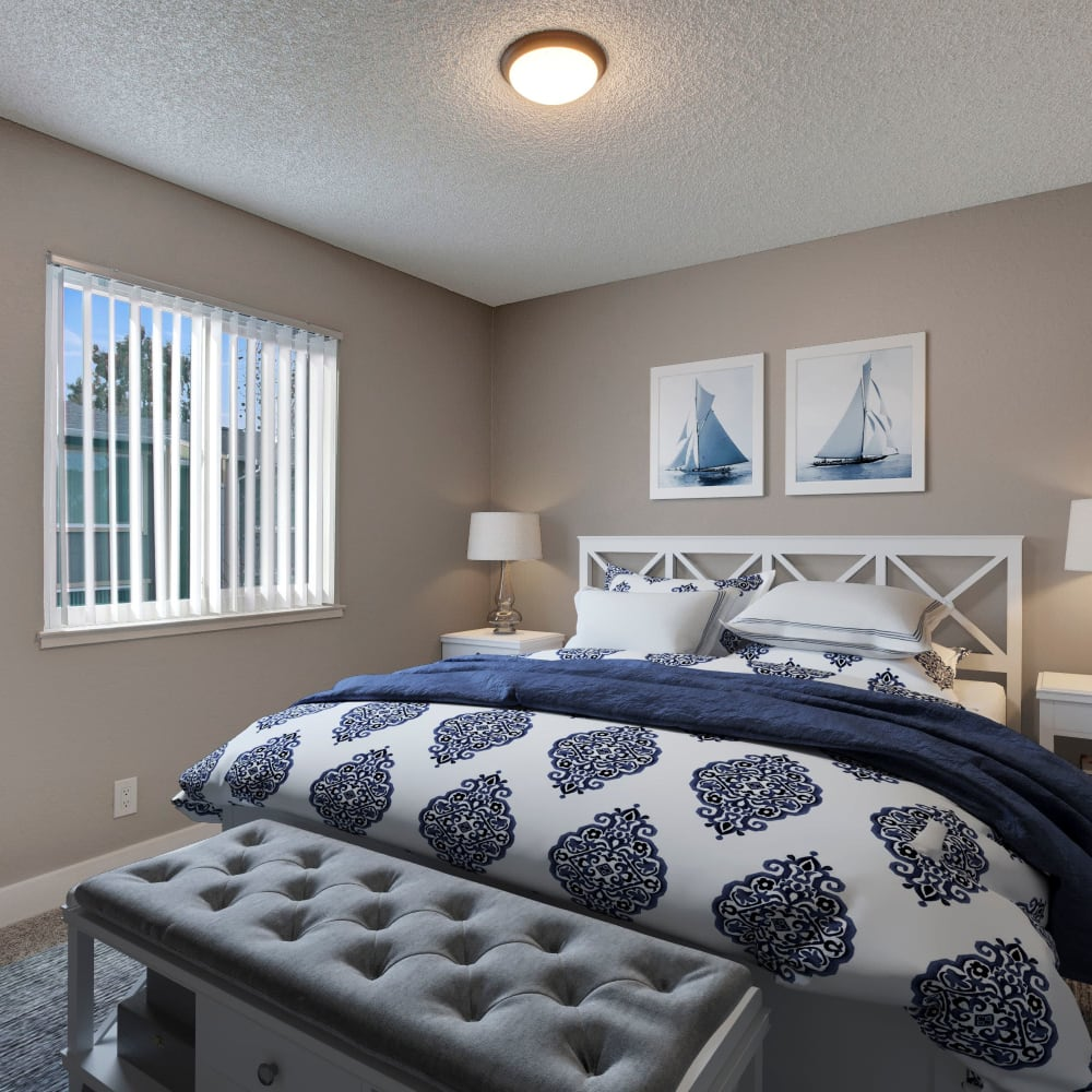 Well-lit bedroom at The Hawthorne in Carmichael, California