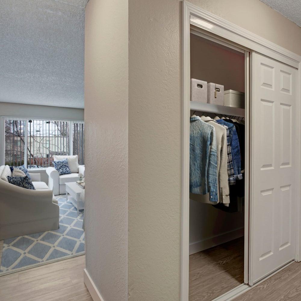 Closet space at The Hawthorne in Carmichael, California