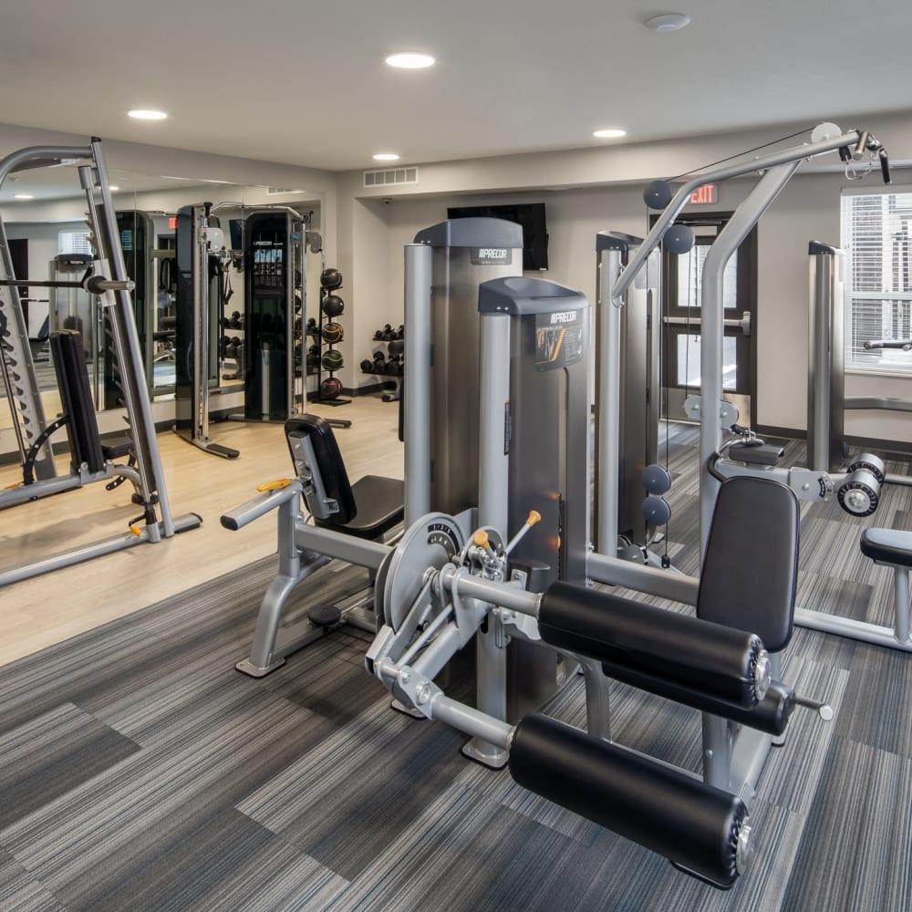 Fully equipped fitness center at Oaks Minnehaha Longfellow in Minneapolis, Minnesota