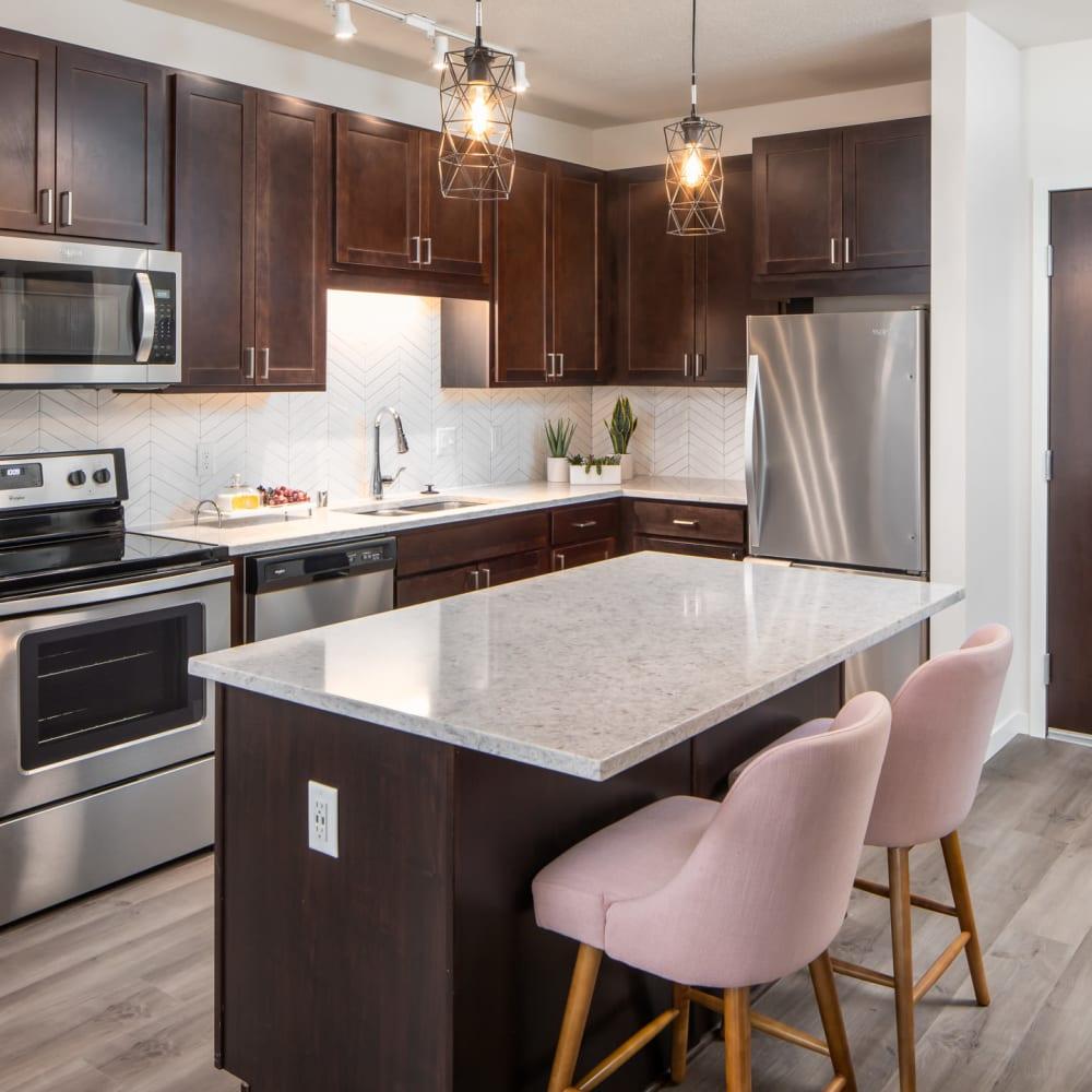 Sleek kitchen with stainless steel appliances at Oaks Minnehaha Longfellow in Minneapolis, Minnesota