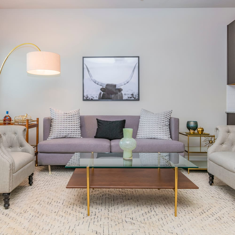 Living room at The Townhomes at BlueBonnet Trails in Waxahachie, Texas