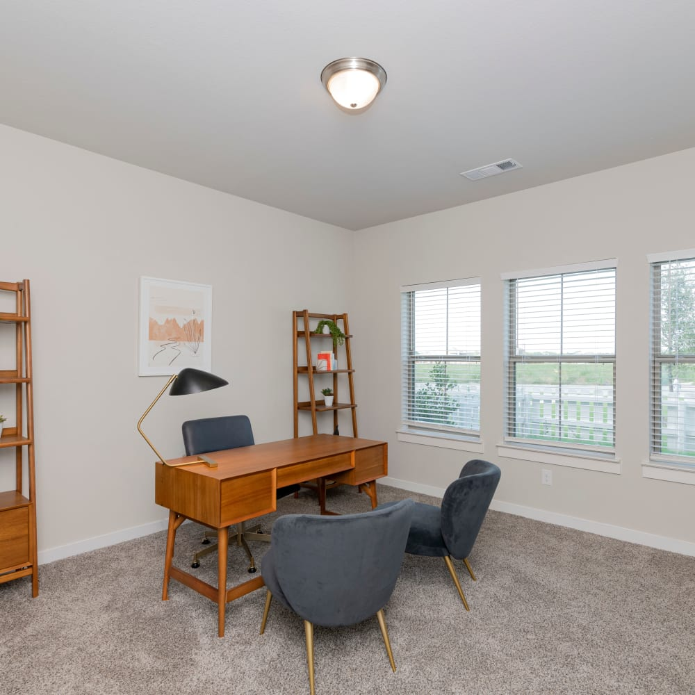 Room decorated as an office at The Townhomes at BlueBonnet Trails in Waxahachie, Texas