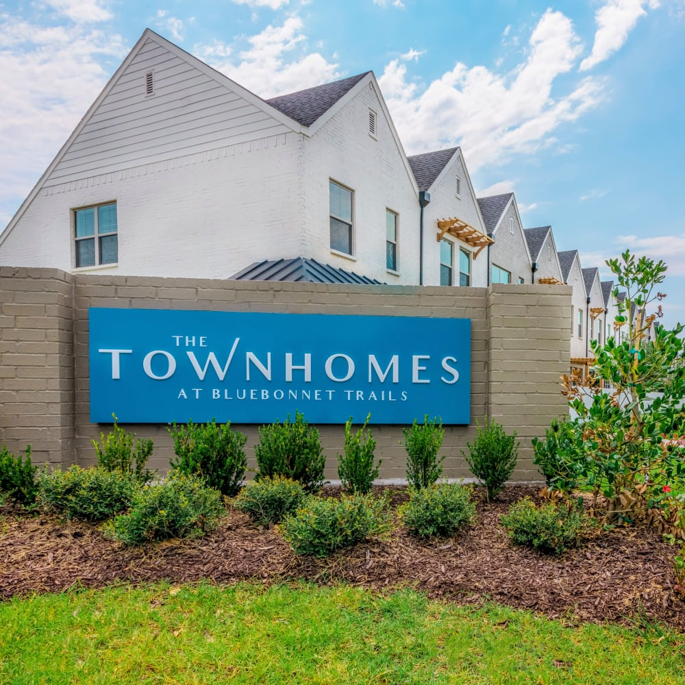 Entry sign at The Townhomes at BlueBonnet Trails in Waxahachie, Texas