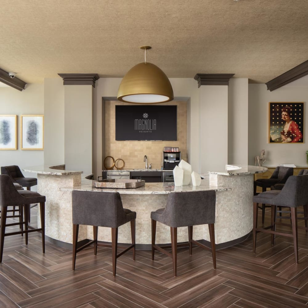 Leasing area in the lobby at Magnolia Heights in San Antonio, Texas