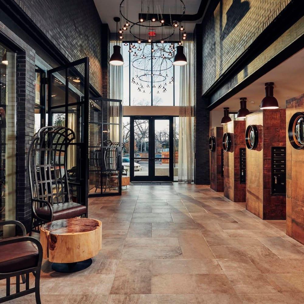Luxurious lobby interior at The Guthrie in Austin, Texas