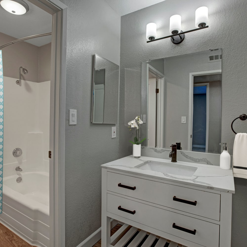 Spacious shower and bathroom at The Archer in Sacramento, California