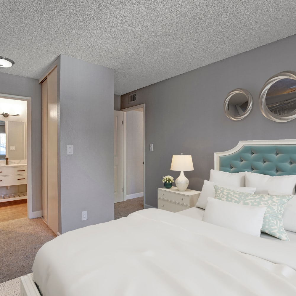 Bedroom and spacious private bathroom at The Archer in Sacramento, California