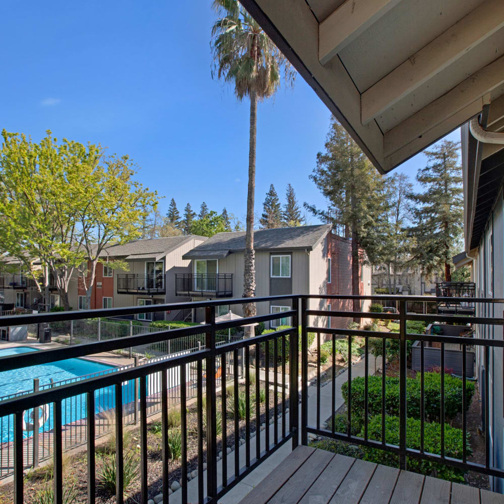 Balcony view of pool at The Archer in Sacramento, California